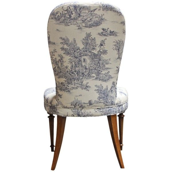 Vintage Toile Linen Accent Chair ($995) ❤ liked on Polyvore