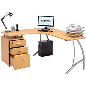 Large Corner Computer Desk with 3 Drawers and A4 Filing Matching
