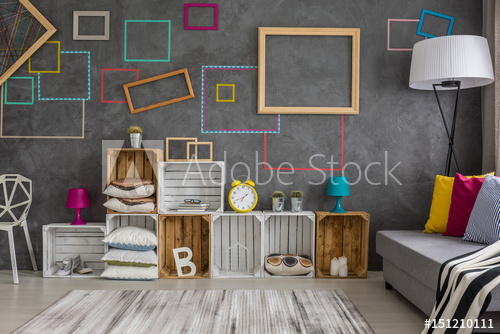 Home interior with diy regale - Buy this stock photo and explore