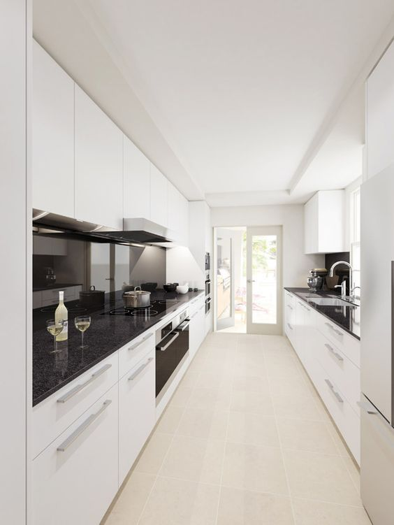 Image result for mirror glass kitchen splashback in closed narrow