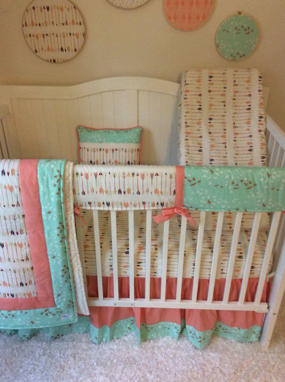 Baby Girl Crib Bedding Set Coral and Mint Birds and Arrows Nursery