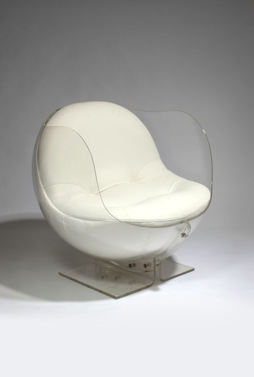 Armlesschair by Boris Tabakoff. Space Age Lucite & White Leather