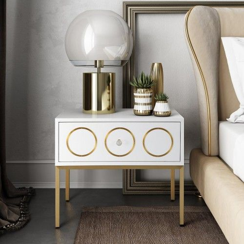 Glam White Lacquer Gold Details Side Table Nightstand | Black