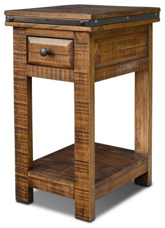 Rustic Distressed Reclaimed Wood Narrow End Table With Drawer
