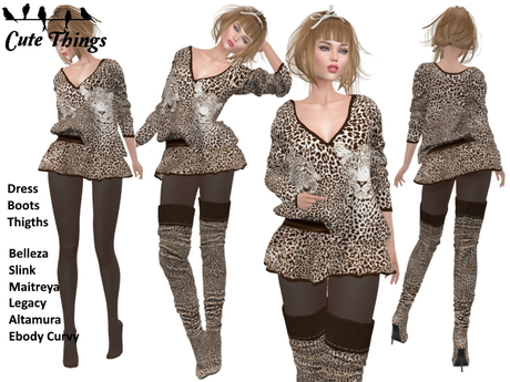 """Second Life Marketplace - [CT] """"Süß wie ein Tiger"""" Brown Outfit."""