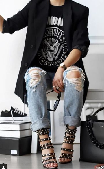 Rock 'n' Roll Style ☆ #theversastyle |  Schicke Outfits nervös, Mode.