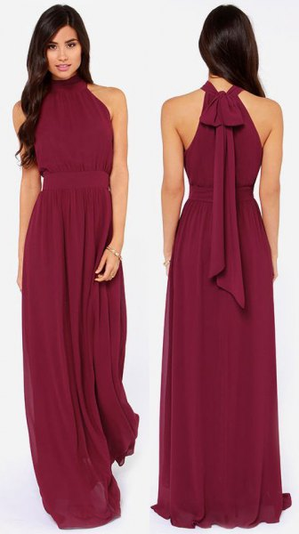 Halfter Empire Taille Chiffon langes Kleid