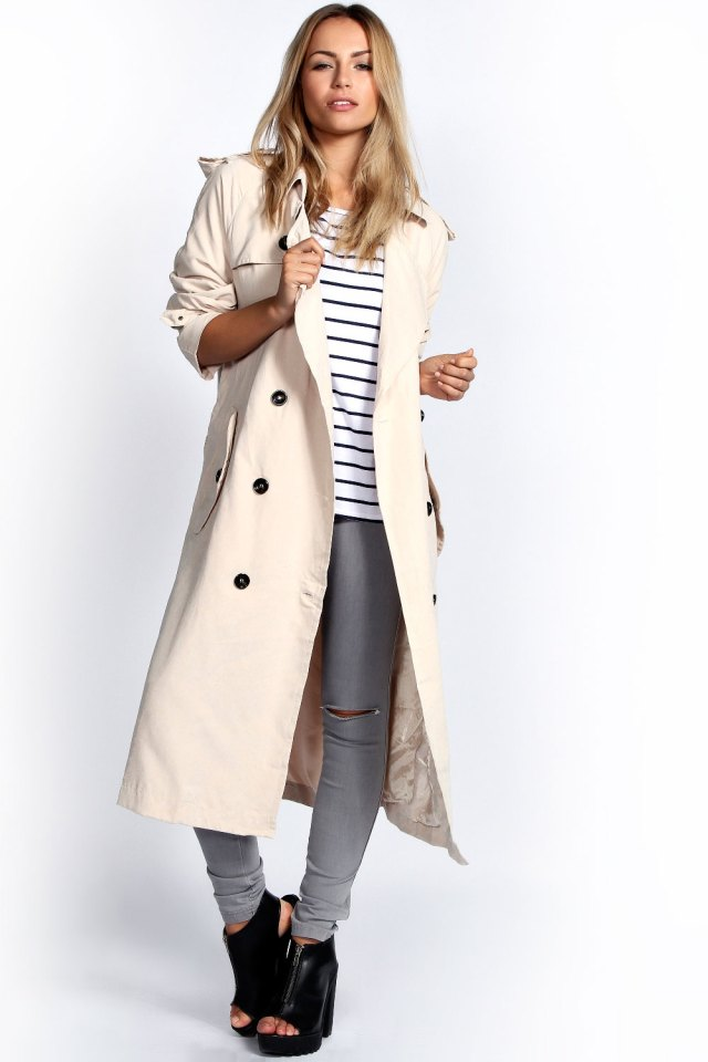 Longline Trenchcoat Frau Outfit