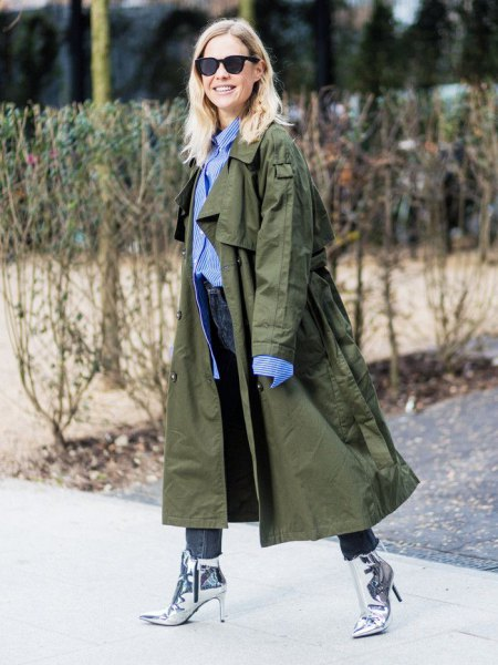 braunes Maxi-Trenchcoat-Outfit