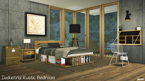 MXIMS: Industrielles rustikales Schlafzimmer • Sims 4 Downloa