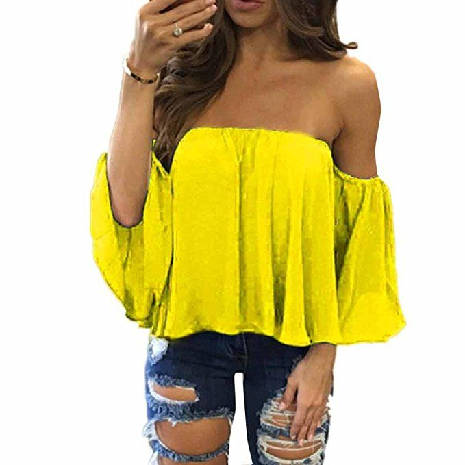 Gelbe schulterfreie Top-Outfits