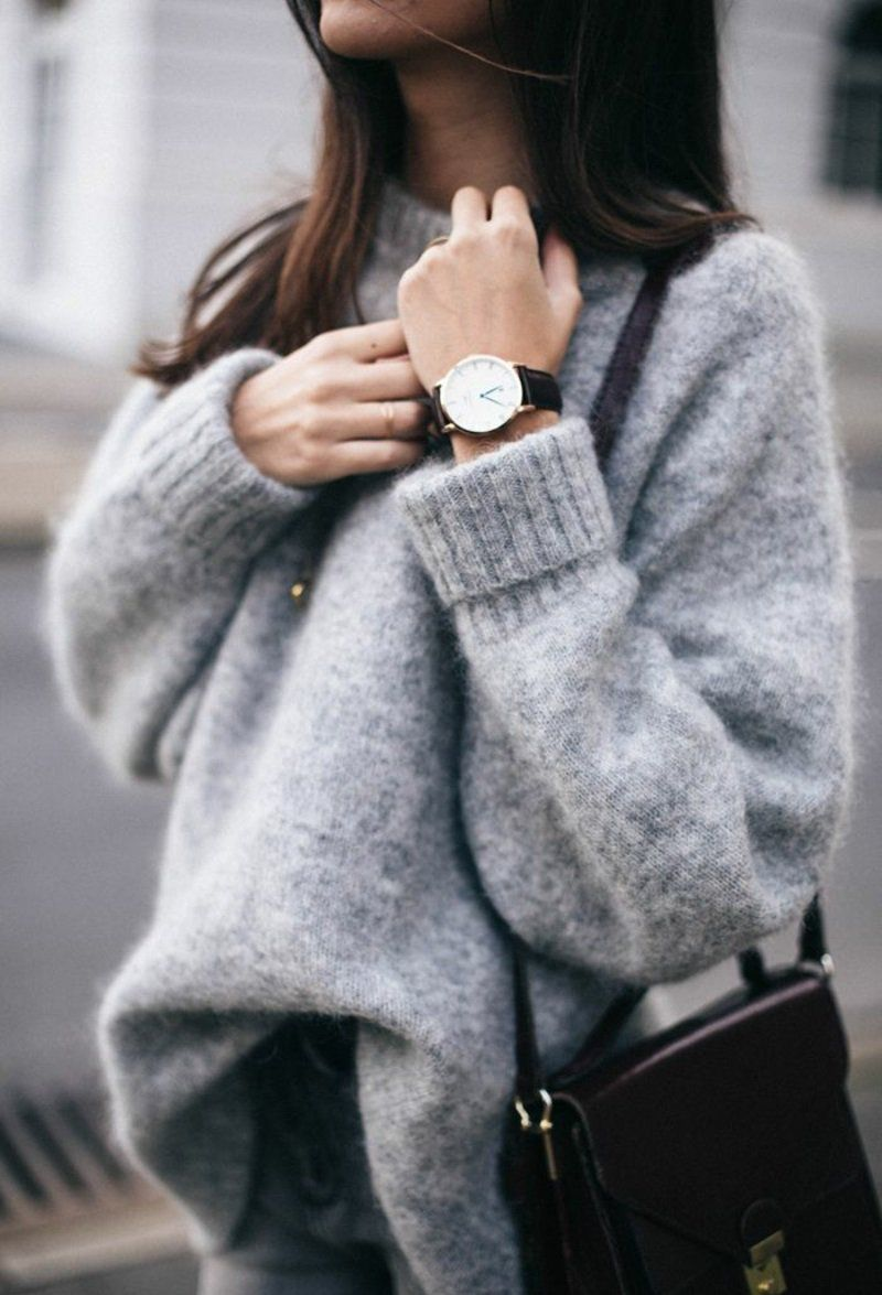 Graue Pullover Kleid Outfit Ideen