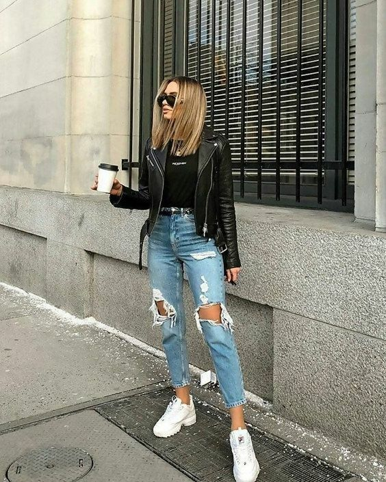 Patched Jeans Outfit Ideen
